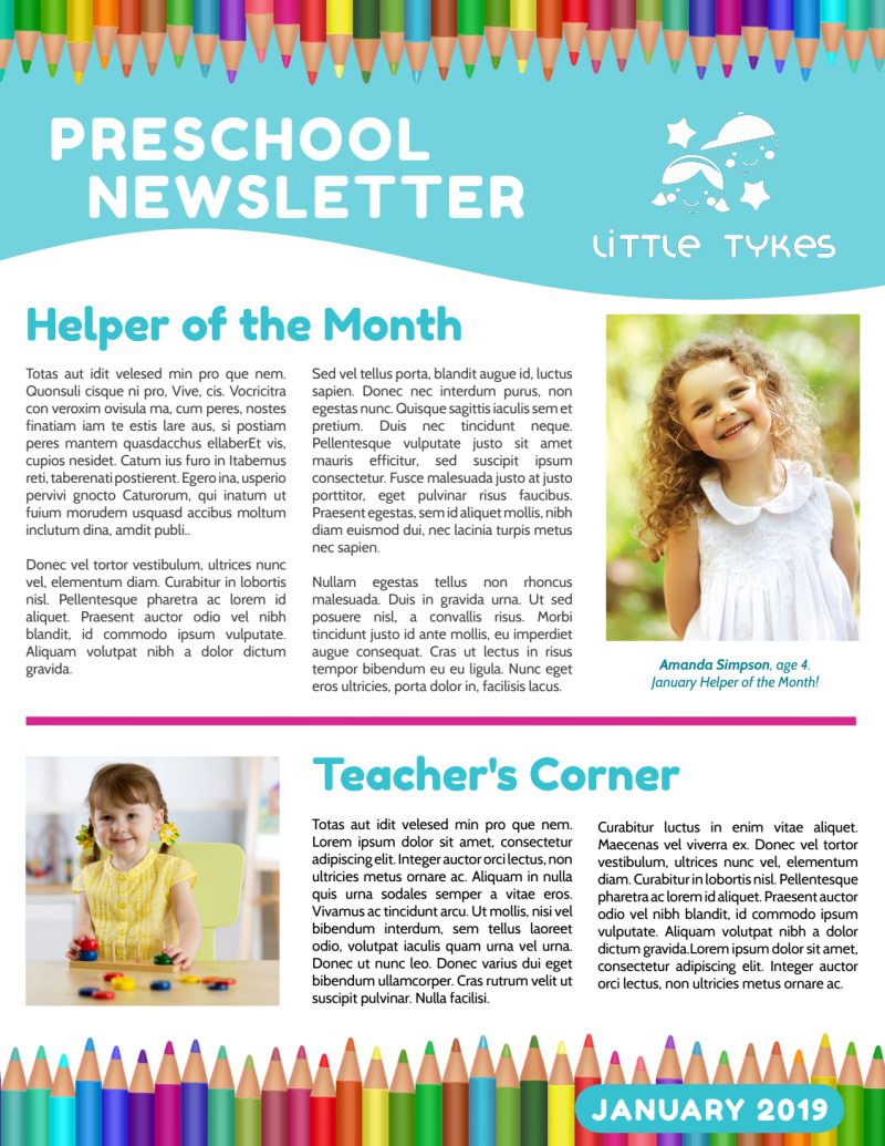 Preschool Newsletter Template Preview 2