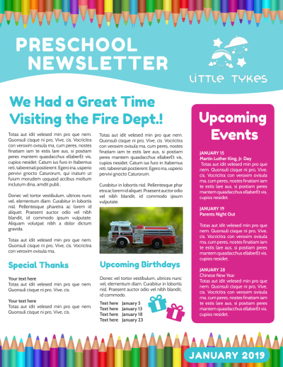 Preschool Newsletter Template Preview 2