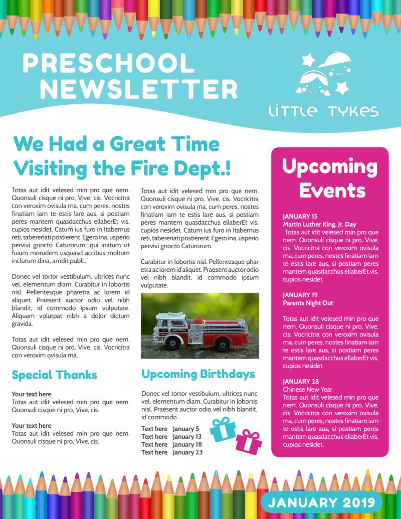 Preschool Newsletter Template Preview 3