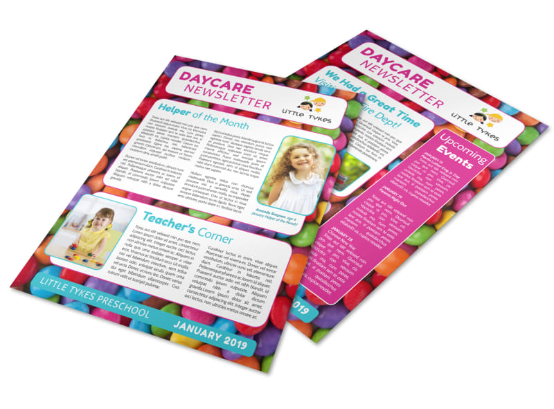Daycare Info Newsletter Template Preview 4