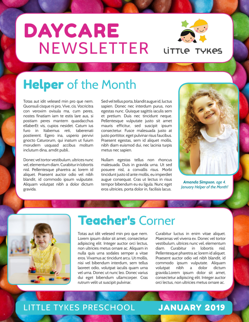 Daycare Info Newsletter Template Preview 2