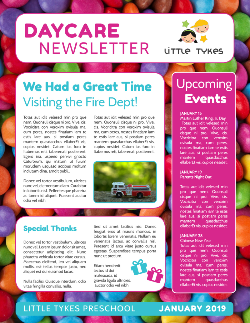 Daycare Info Newsletter Template Preview 3