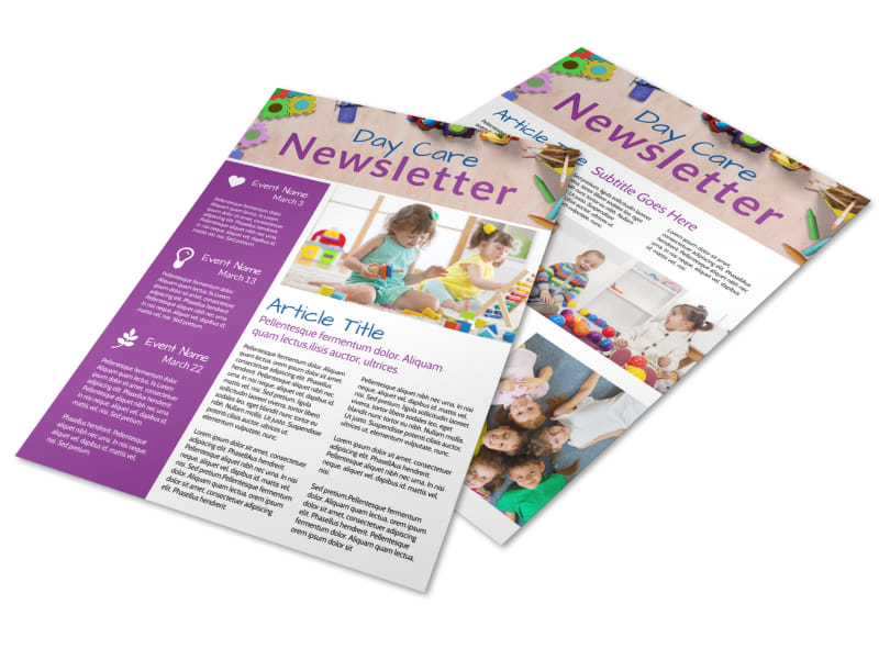 Happy Daycare Newsletter Template Preview 4