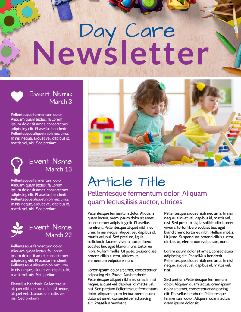 Happy Daycare Newsletter Template Preview 2