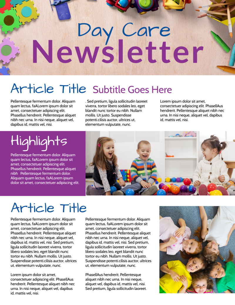 Happy Daycare Newsletter Template Preview 3