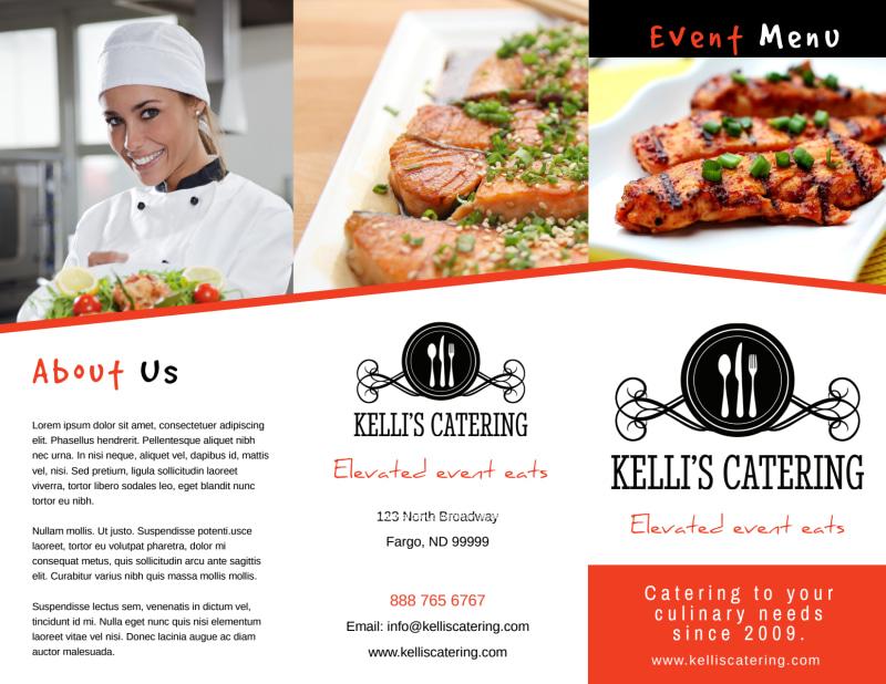 Catering Event Menu Tri-Fold Brochure Template Preview 2