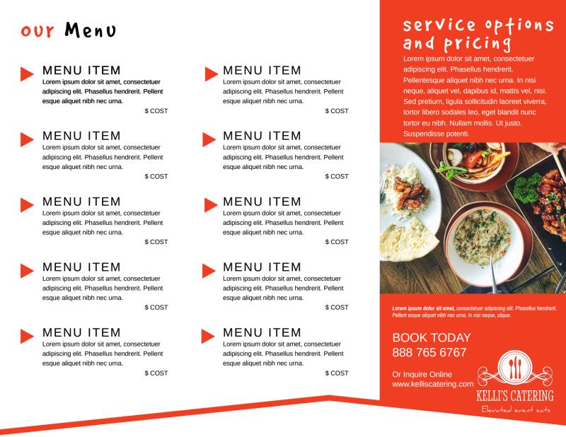 Catering Event Menu Tri-Fold Brochure Template Preview 3