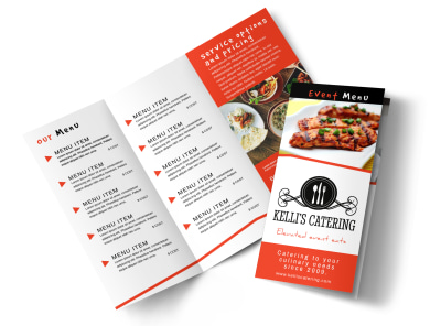 Catering Event Menu Tri-Fold Brochure Template preview