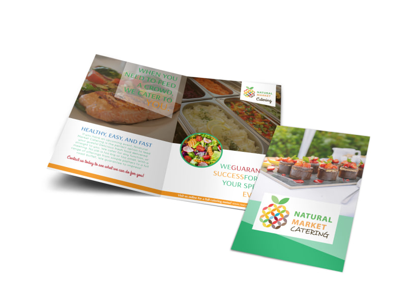 Natural Market Catering Bi-Fold Brochure Template