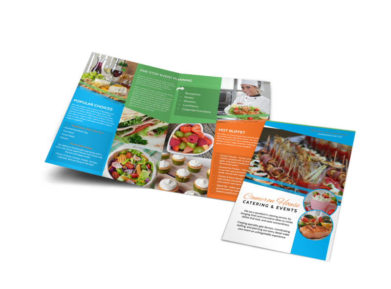 catering events bi fold brochure template