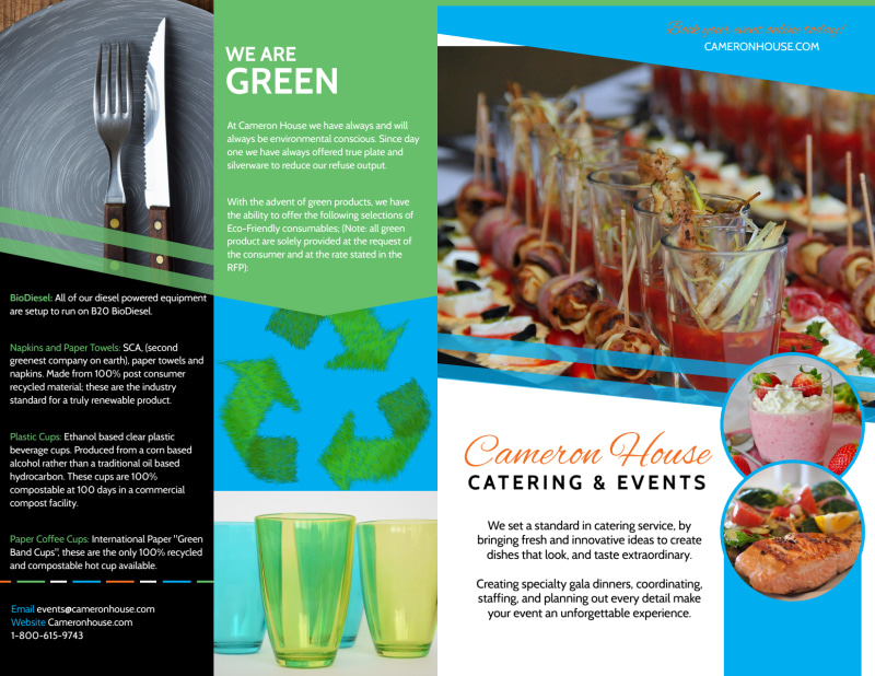 Catering & Events Bi-Fold Brochure Template Preview 2