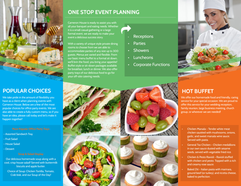 Catering & Events Bi-Fold Brochure Template Preview 3