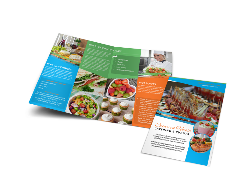 Catering & Events Bi-Fold Brochure Template Preview 1