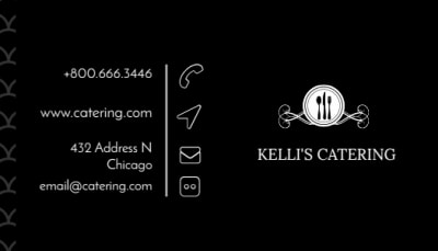 Black Catering Business Card Template Preview 1