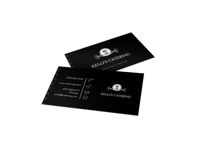 Black catering business card template mycreativeshop black catering business card template friedricerecipe Choice Image