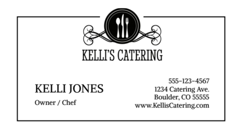 Black & White Catering Business Card Template Preview 2