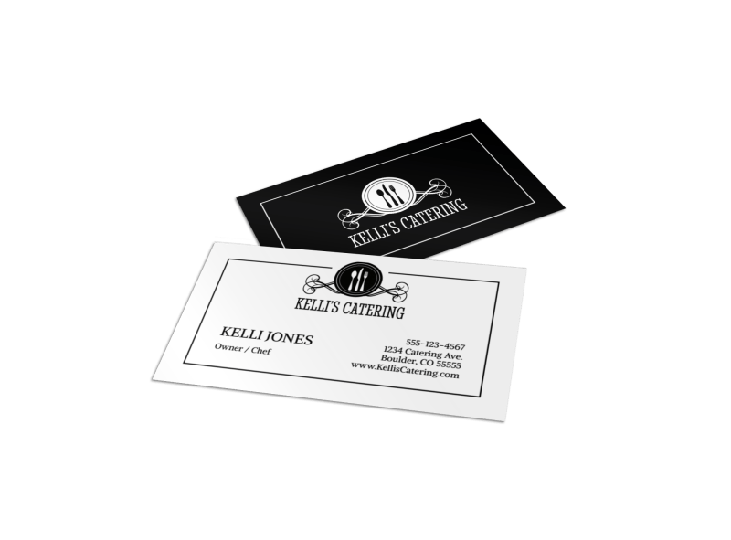Black & White Catering Business Card Template Preview 1