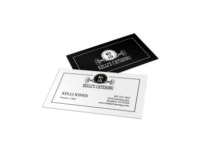 Black & White Catering Business Card Template preview