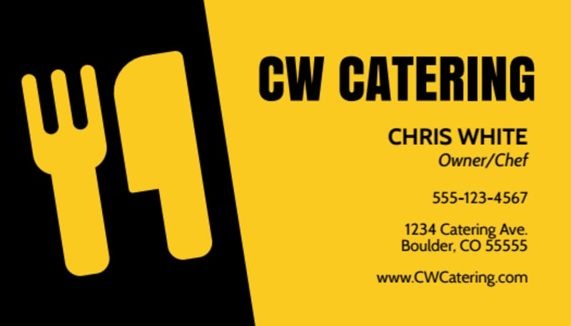 CW Catering Business Card Template Preview 2