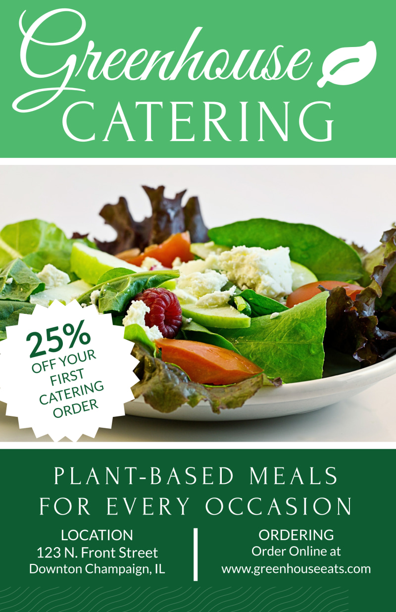 Greenhouse Catering Poster Template Preview 2