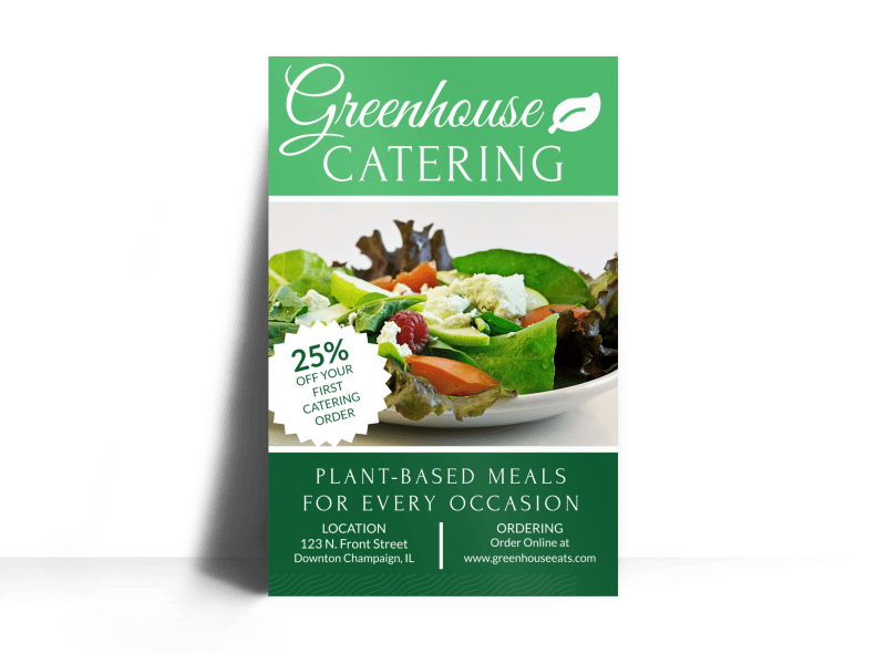Greenhouse Catering Poster Template Preview 1