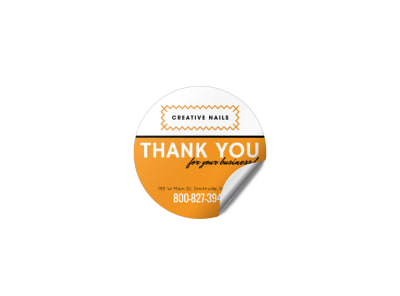 Nail Salon Thank You Sticker Template preview