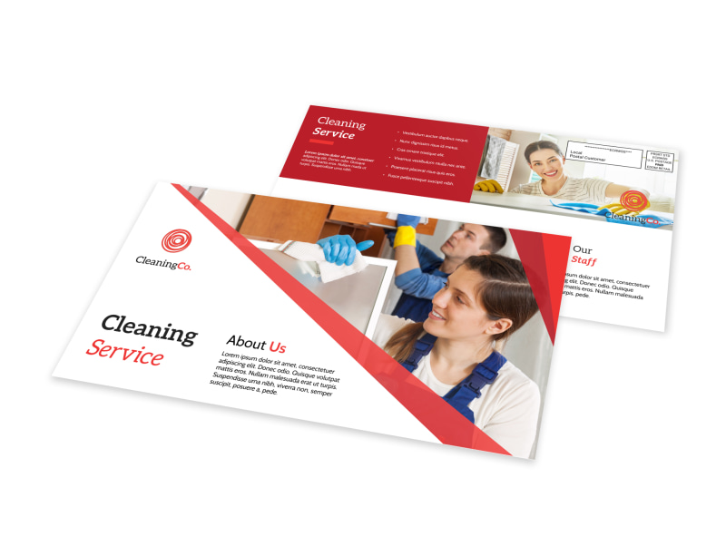 Red Cleaning Service EDDM Postcard Template