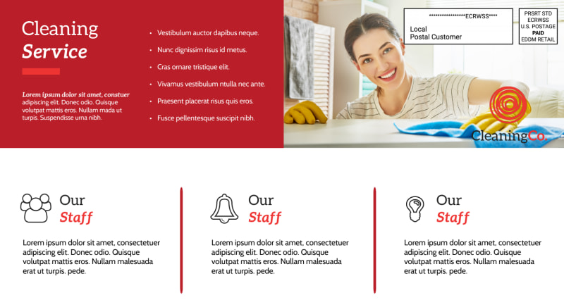 Red Cleaning Service EDDM Postcard Template Preview 3