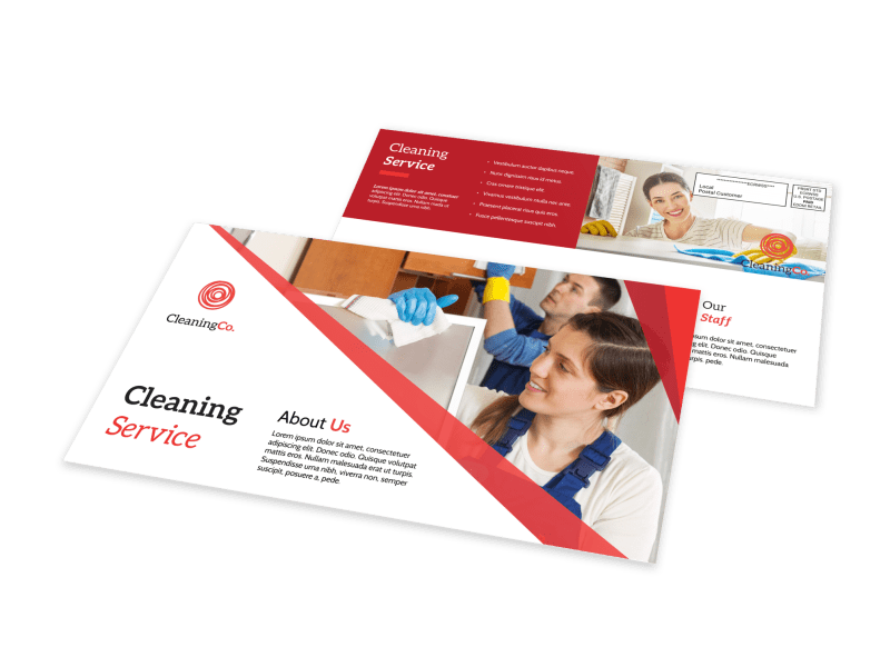 Red Cleaning Service EDDM Postcard Template Preview 1