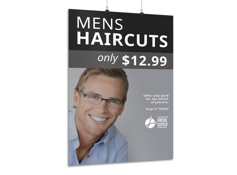 Mens Haircuts Poster Template Preview 1