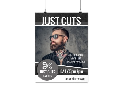 Just Cuts Barber Shop Poster Template preview