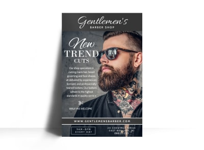 Beautiful Barber Shop Poster Template preview