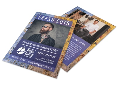 Fresh Cuts Barber Shop Flyer Template preview