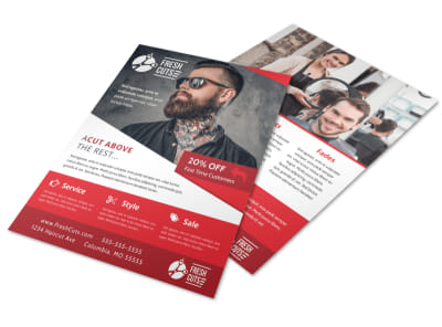 Fresh Barber Shop Flyer Template preview