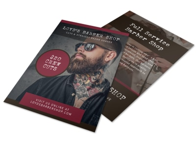 Dark Barber Shop Flyer Template preview