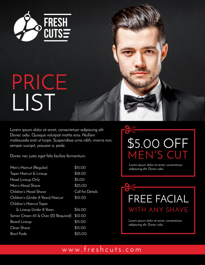 Barber Shop Price List Flyer Template Preview 3