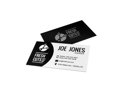 Black Barber Shop Business Card Template preview