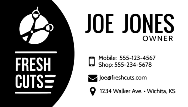 Black Barber Shop Business Card Template Preview 2