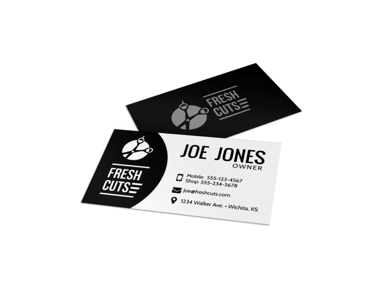 black barber shop business card template