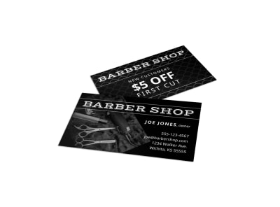 Classic Barber Shop Business Card Template preview