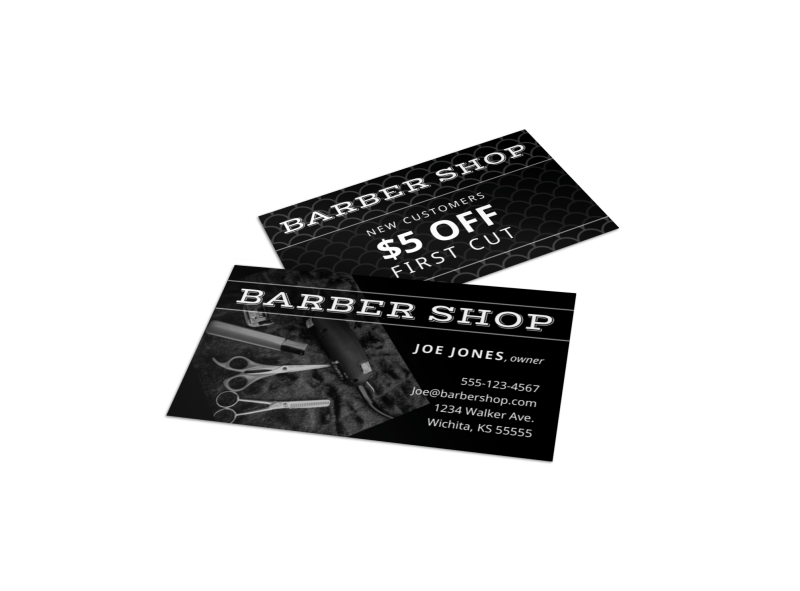 Classic Barber Shop Business Card Template Preview 1