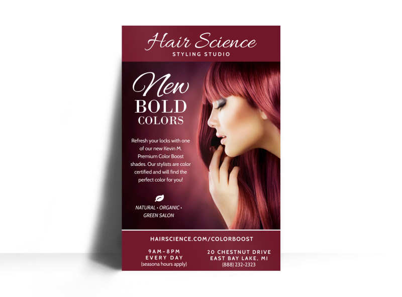 Hair Science Beauty Salon Poster Template Preview 3
