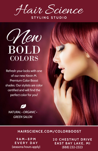 Hair Science Beauty Salon Poster Template Preview 1