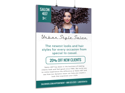 Urban Beauty Salon Poster Template preview