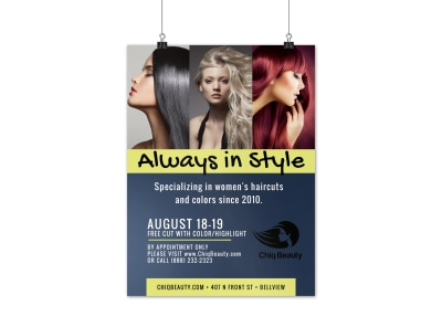 Stylish Beauty Salon Poster Template preview