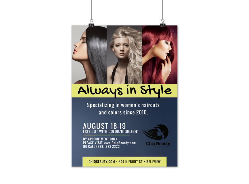 Stylish Beauty Salon Poster Template Preview 1