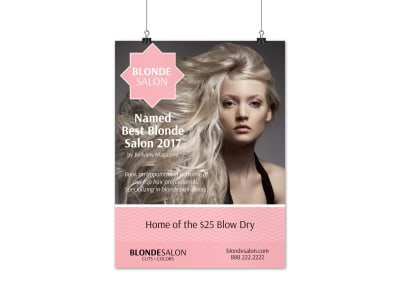 Blonde Beauty Salon Poster Template preview