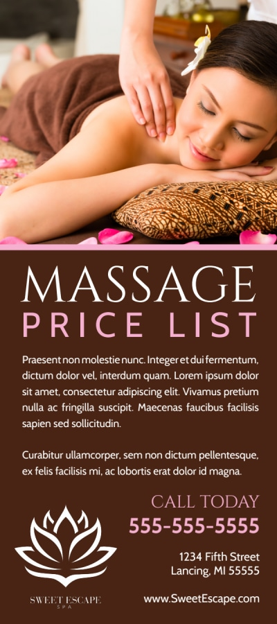 Price List Massage Flyer Template Preview 1