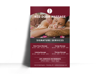 Red Massage Price List Poster Template