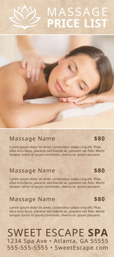 Elegant Massage Price List Flyer Template Preview 1